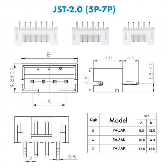 JST PH - 5 / 6 / 7 Pin Connector Kit