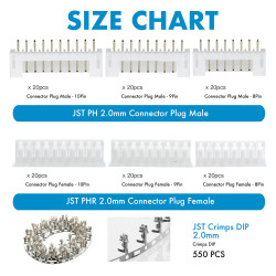 JST PH - 8 / 9 / 10 Pin Connector Kit