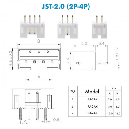 JST PH - 2 / 3 / 4 Pin Connector Kit (750 Pieces)
