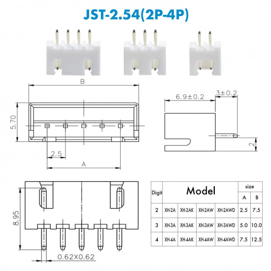 JST XH - 2 / 3 / 4 Pin Connector Kit