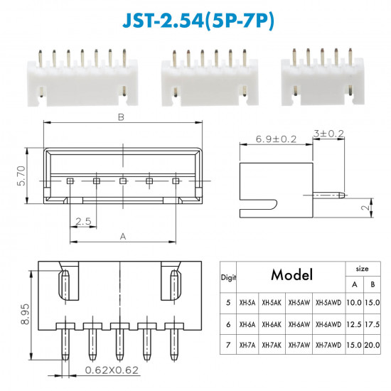 JST XH - 5 / 6 / 7 Pin Connector Kit