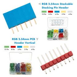 RGB Stackable Stacking Pin Header and PCB Header Vertical 2.54mm - 4 / 5 / 6 / 8 / 10 Pin Kit