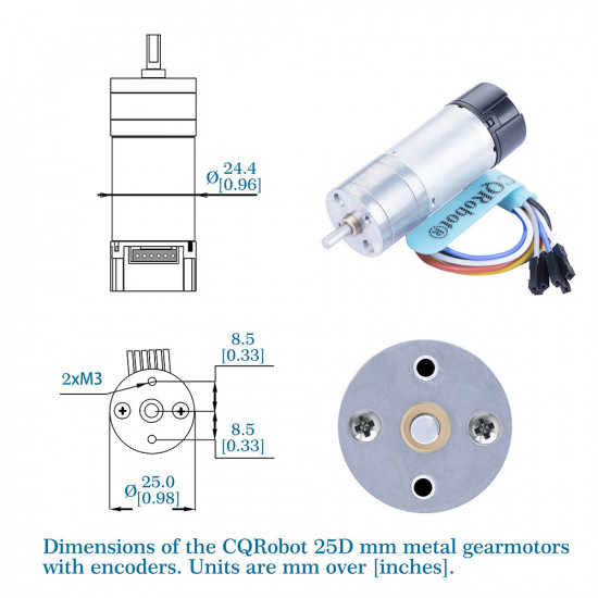 Ocean: 98.78:1 HP Metal DC Geared-Down Motor 25Dx62.5L mm 6W/6V with 48 CPR Encoder and Fix Bracket.
