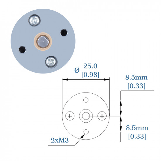 78.09:1 HP Metal DC Geared-Down Motor 25Dx47.8L mm 6W/6V, with Fix Bracket.