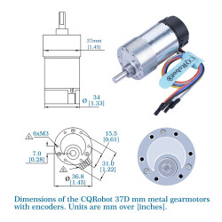 Ocean:  30:1  Metal DC Geared-Down Motor 37Dx65L mm 6V  or 12V, with 64 CPR Encoder and Mounting Bracket.