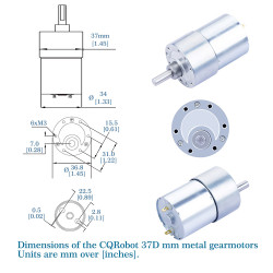 450:1 Metal DC Geared-Down Motor 37Dx49.8L mm 24V, with Mounting Bracket.
