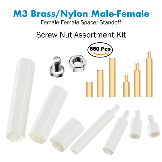 M3 Fastening Kit,  Male Female Hex Brass/Nylon Spacer Standoff. (660 Pieces)