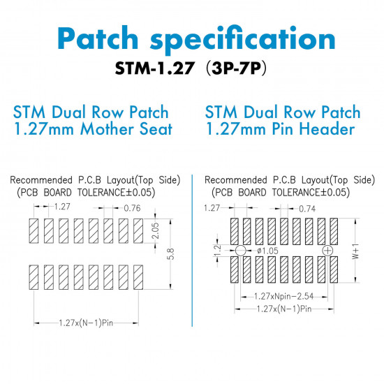 SMT Dual Row Patch 1.27mm - 3 / 4 / 5 / 6 / 7 Pin Mother Seat and Pin Header Kit